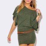 OLIVE GREEN KIMONO SLEEVE SWEATER DRESS