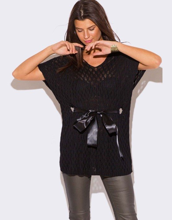 WOMEN'S PLUS SIZE BLACK RIBBON SWEATER TOP