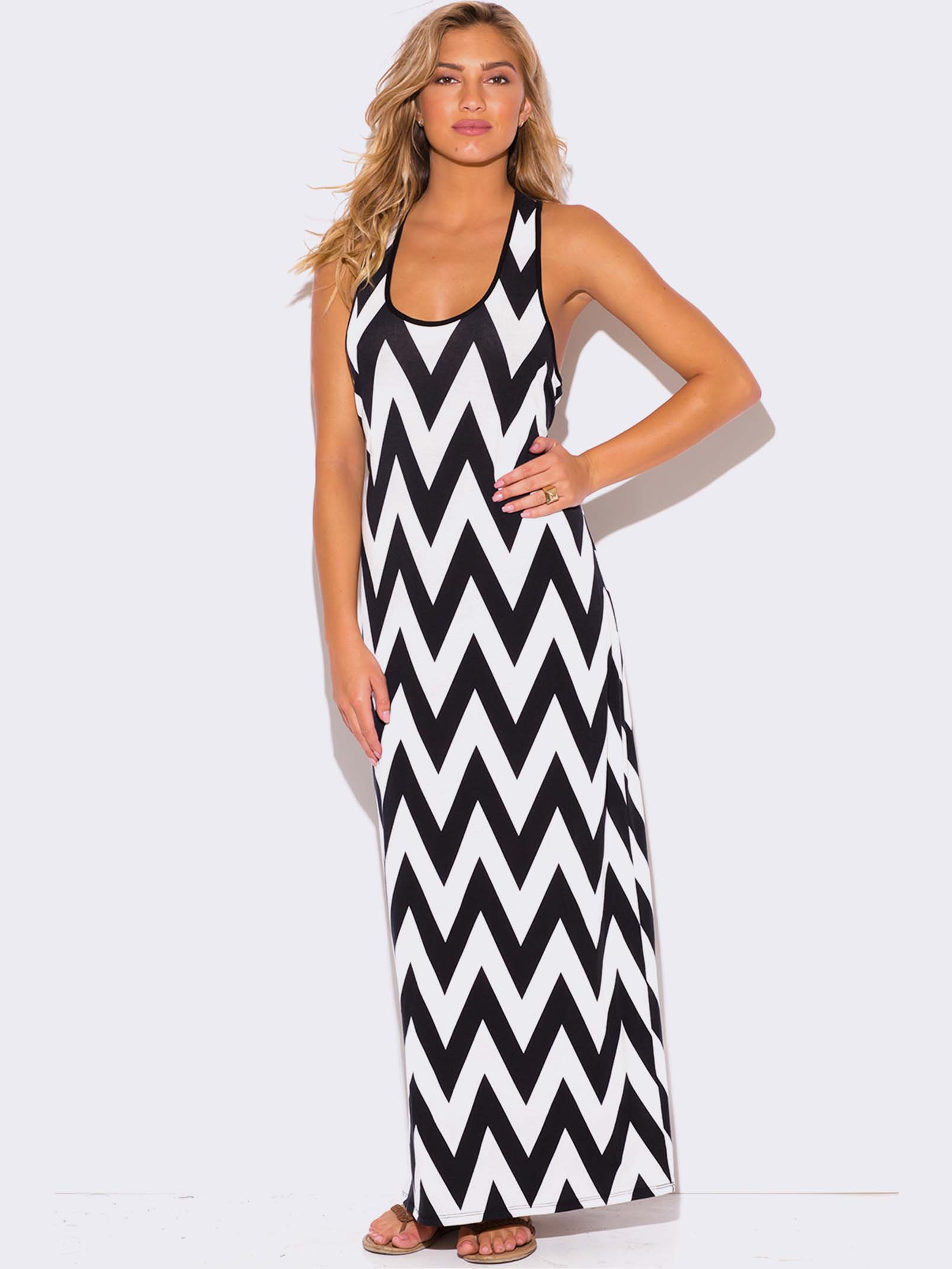 3872e641e28 Plus Size Chevron Print Racer Back Maxi Dress - Modish