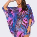 PLUS SIZE BLUE ABSTRACT ANIMAL PRINT SHEER TUNIC TOP