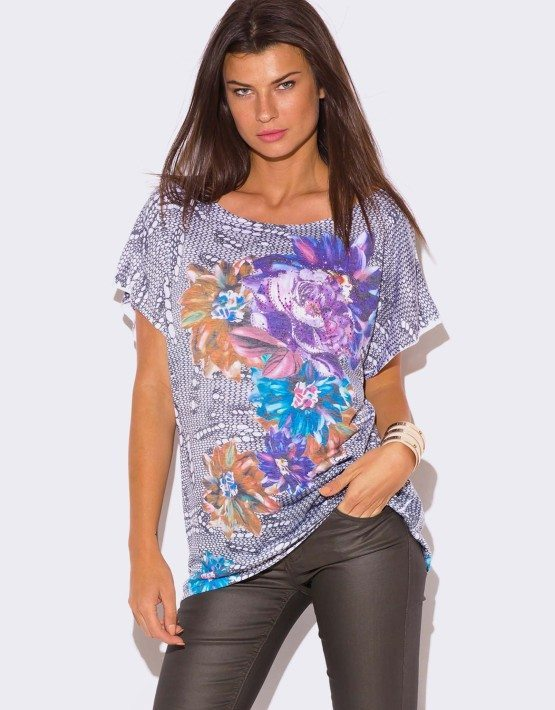 PLUS SIZE FLORAL PRINT RHINESTONE EMBELLISHED TOP