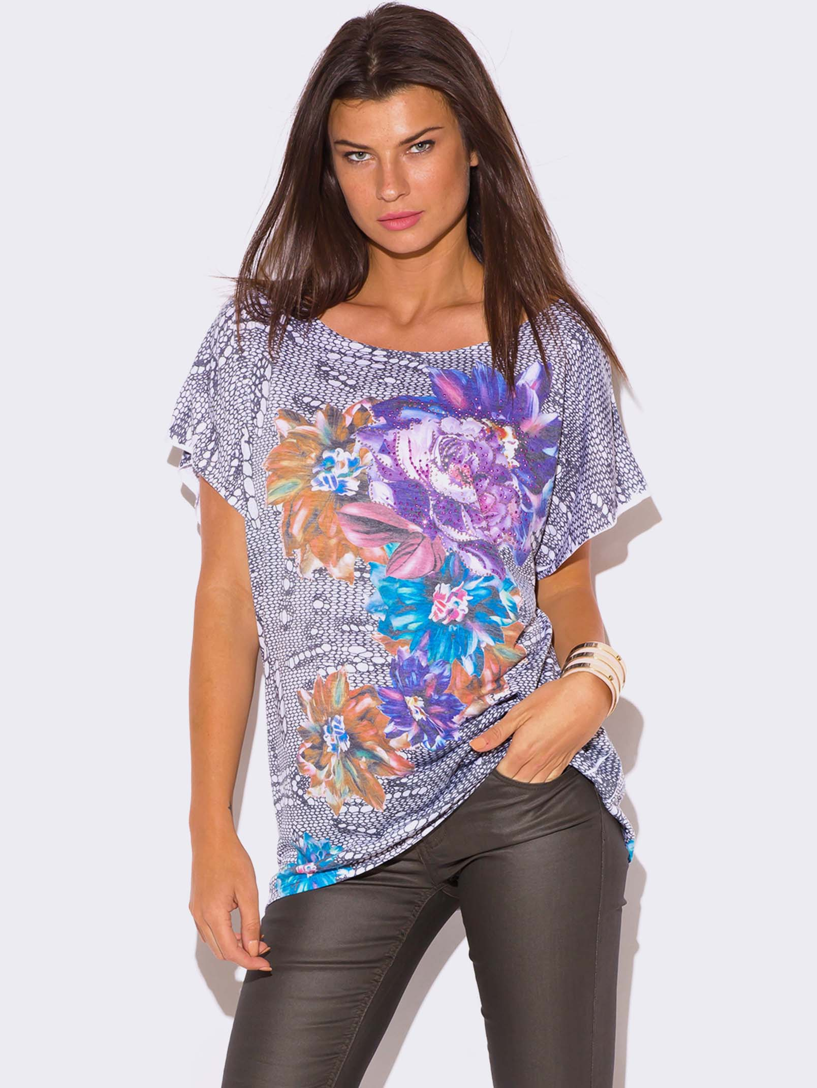 plus size floral graphic print rhinestone bejeweled top__0