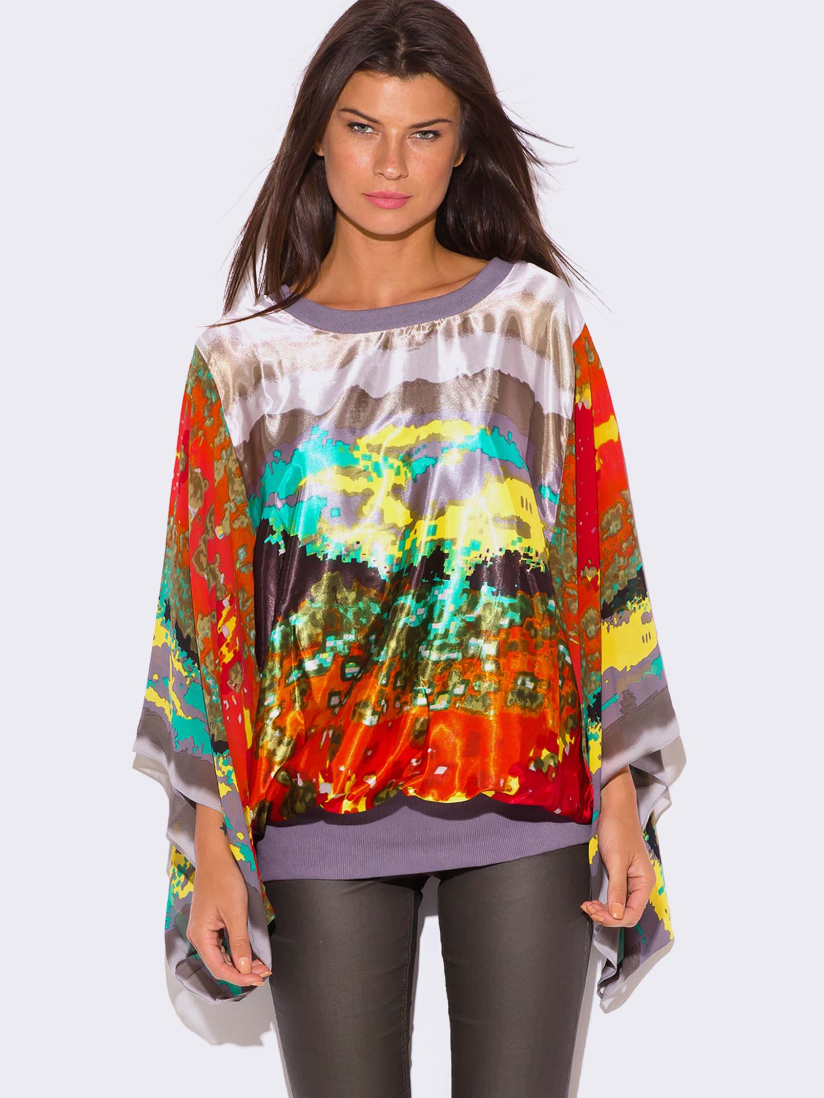 Plus Size Kimono Sleeve Tunic Top Modishonline Com