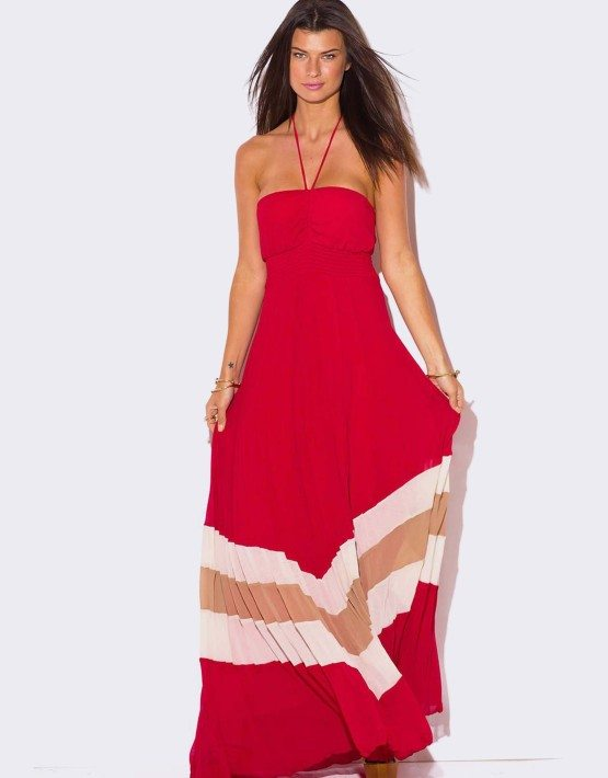 RED CHIFFON PLEATED HALTER MAXI DRESS