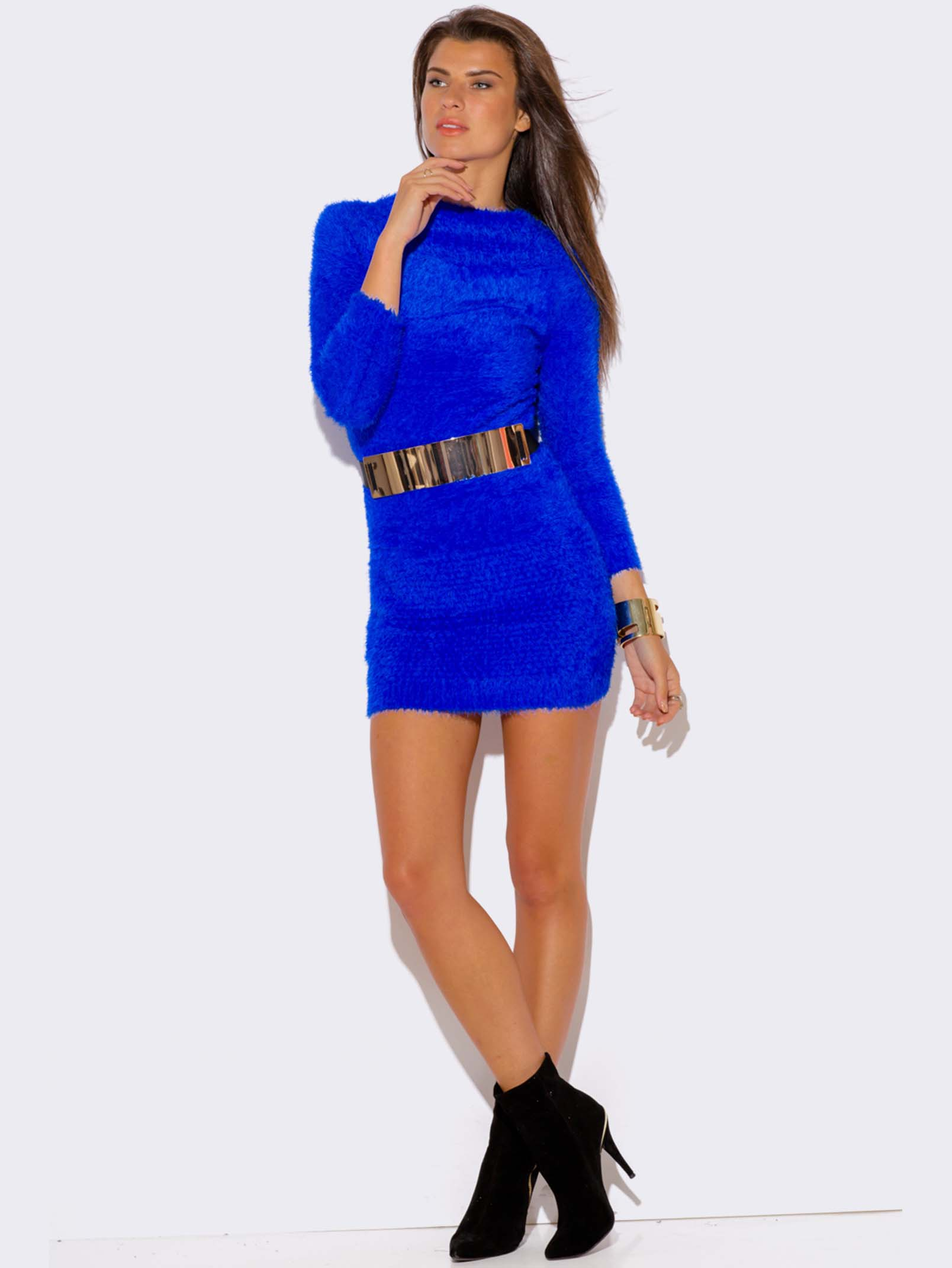 ROYAL BLUE FAUX FUR SWEATER DRESS - ModishOnline.com