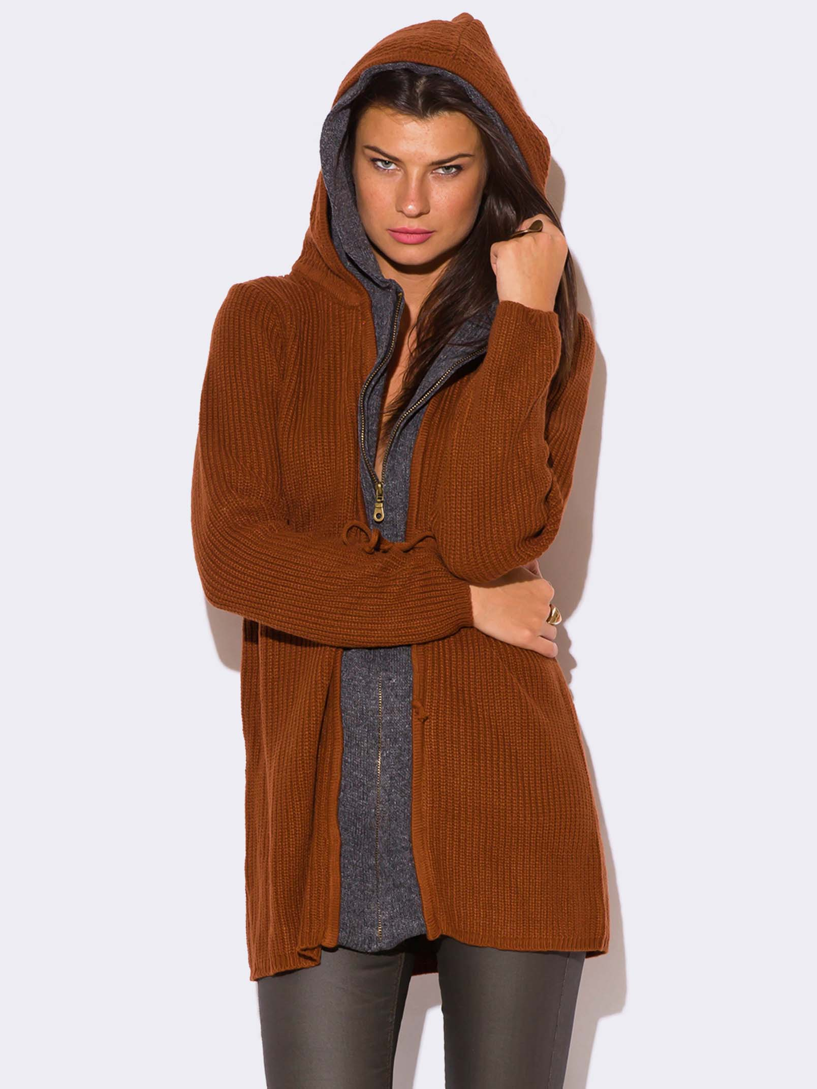 RUST BROWN ZIP UP HOODED SWEATER - ModishOnline.com