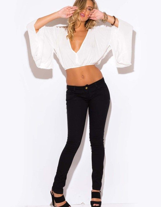 WHITE V NECK KIMONO SLEEVE CROP TOP