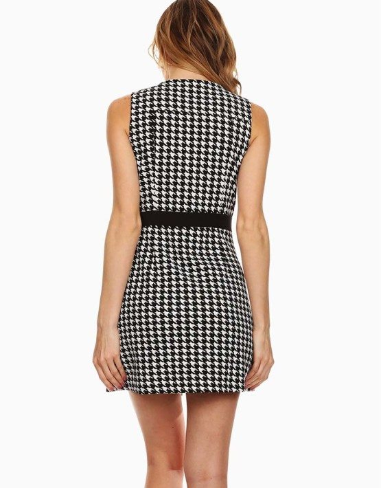 Renjo New York Black Contrast Houndstooth Moto Dress