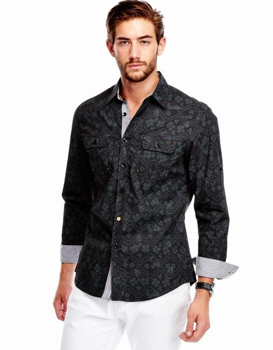 Black Floral Print Button-Up