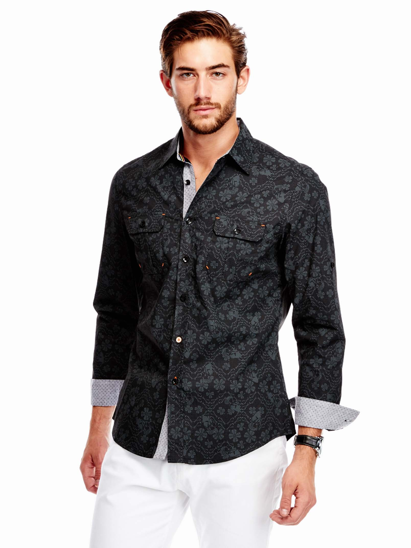 Black floral print button up for Guys button up shirts