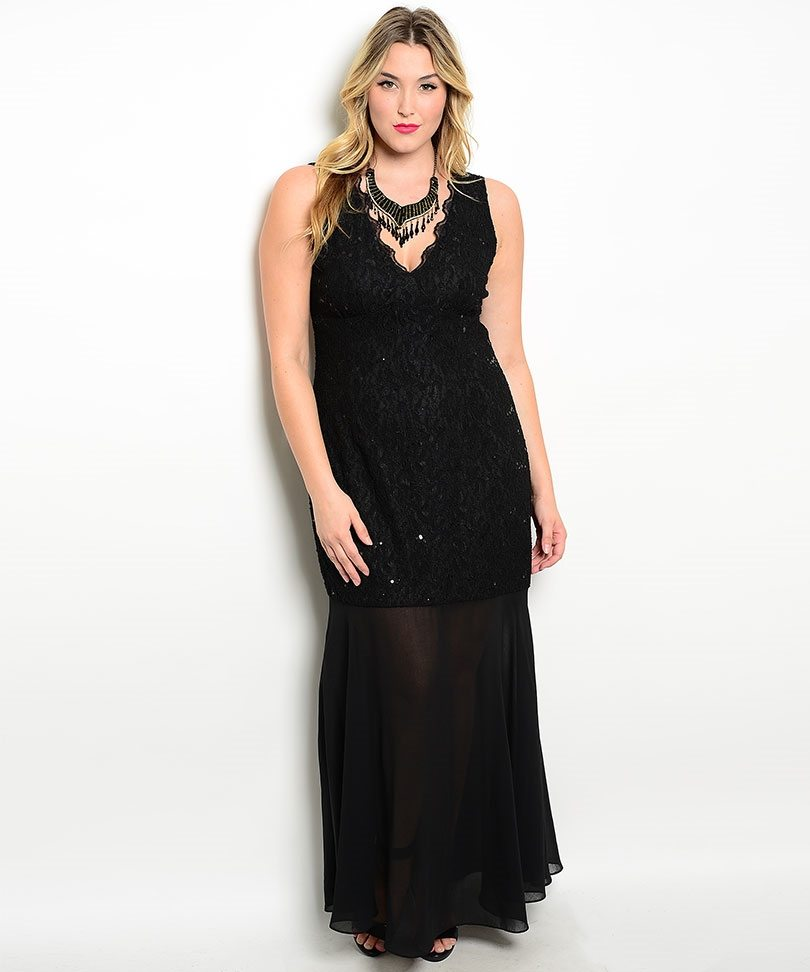 Black Plus Size Lace Sheer Evening Dress - ModishOnline.com