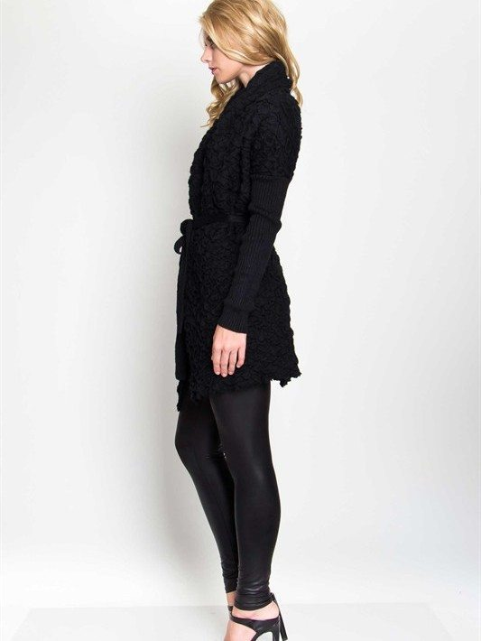 Black Textured Cardigan Sweater