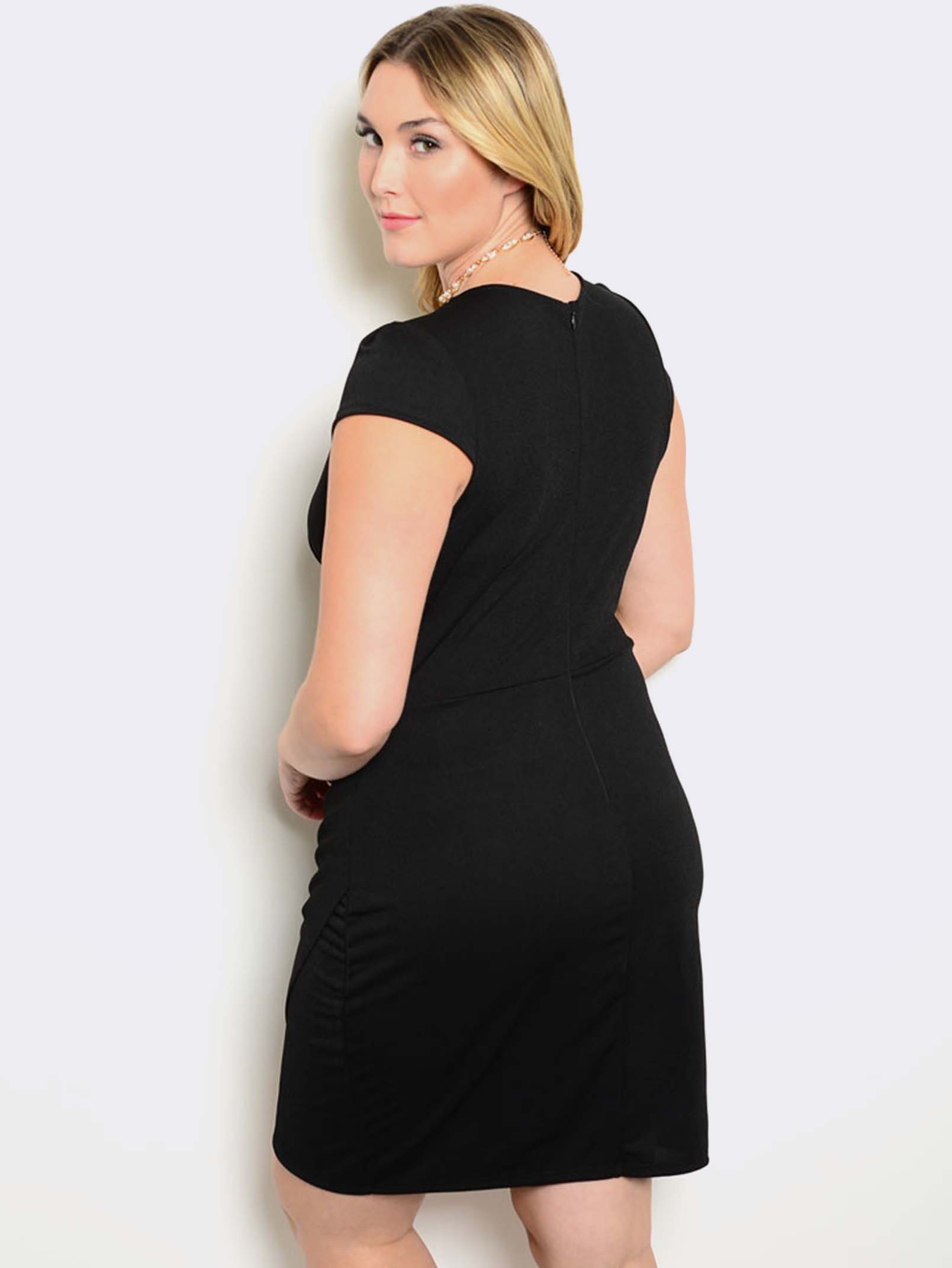 BLACK SHORT SLEEVE PLUS SIZE DRESS | ModishOnline.com