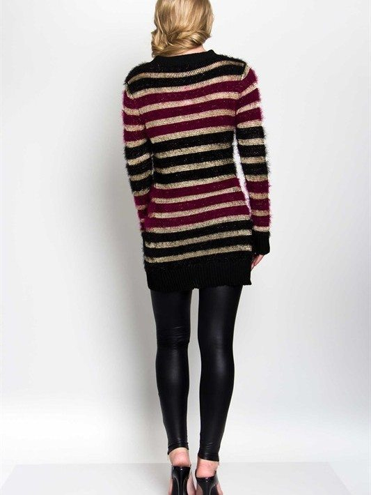 Fuzzy Striped Sweater Dress