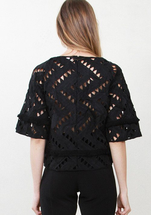 Black Short Sleeve Cutout Top