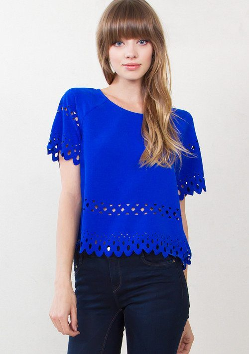 Cobalt Blue Laser Cut Detail Top