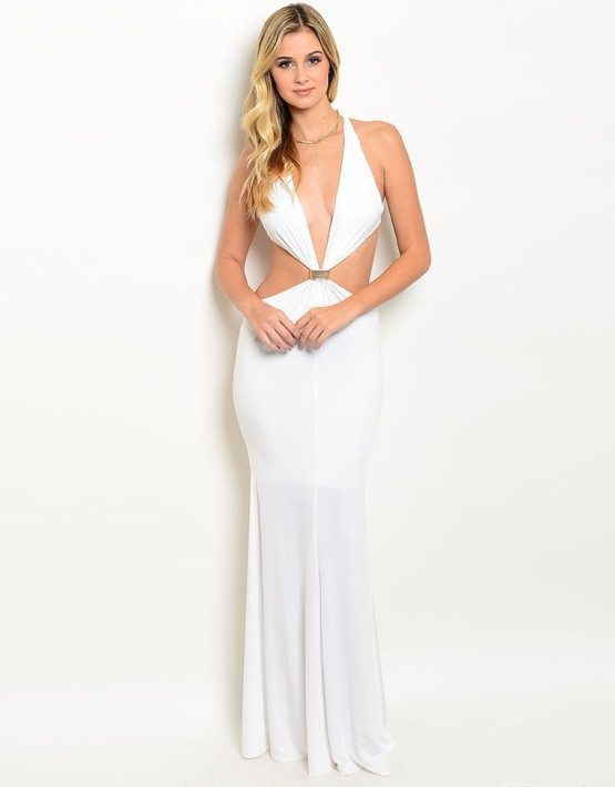 Ivory Halter Neck Evening Gown