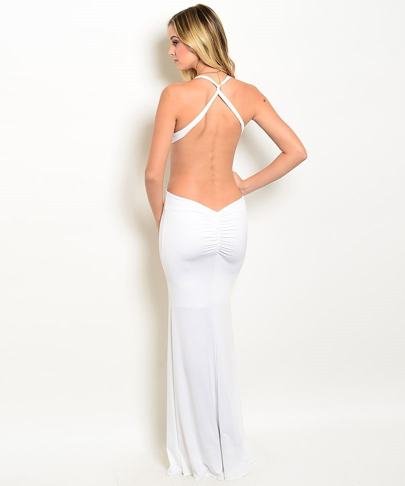 Ivory Halter Neck Evening Gown - ModishOnline.com