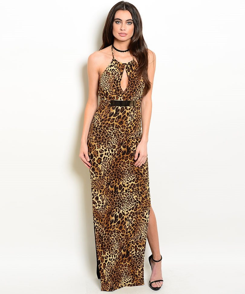 Long Leopard Print Evening Dress - ModishOnline.com