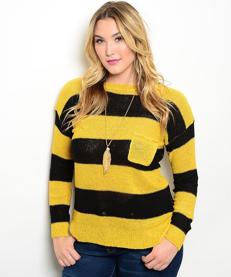 Knitting Patterns For Plus Size Sweaters : Mustard & Black Plus Size Sweater - ModishOnline.com