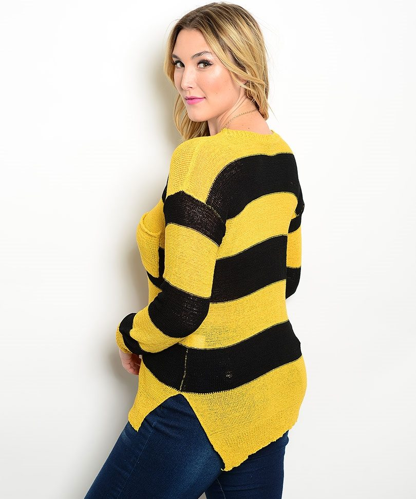 Mustard & Black Plus Size Sweater - ModishOnline.com
