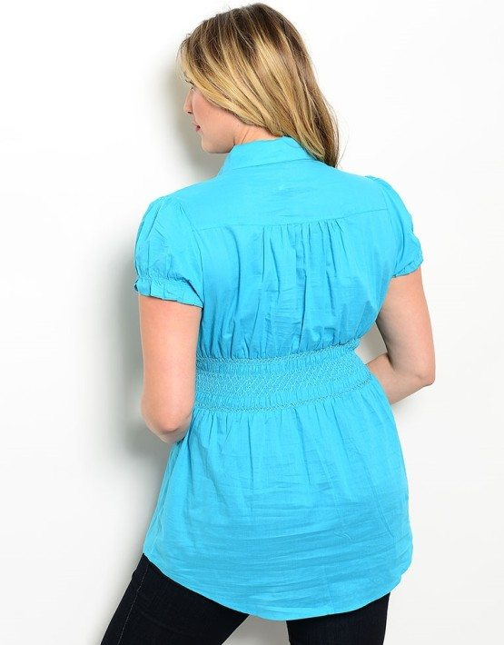 Turquoise Woven Plus Size Top