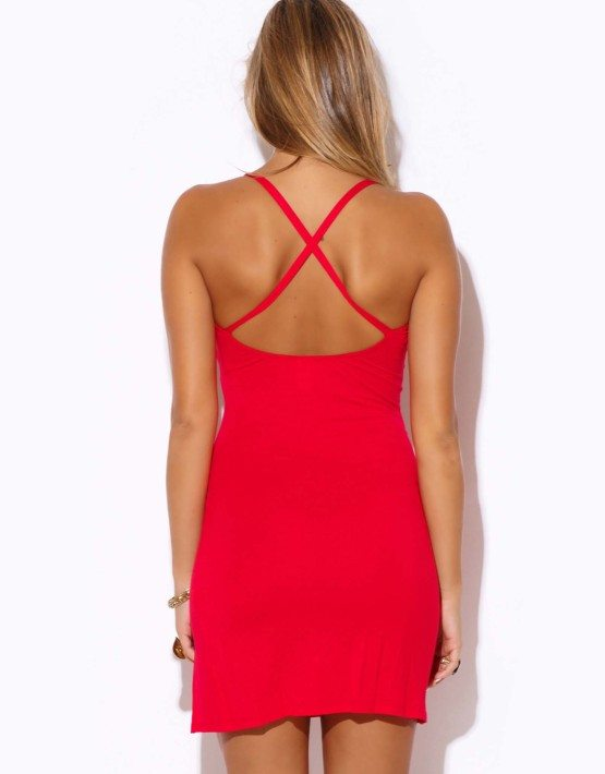 RED CRISS CROSS BACK FITTED MINI DRESS