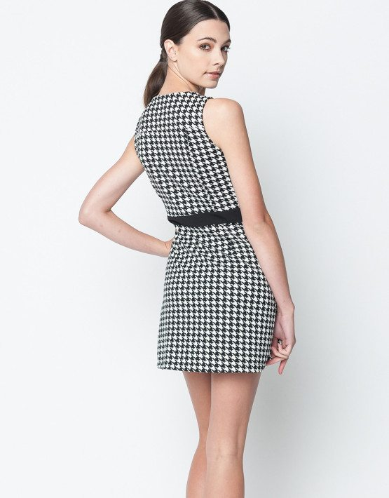 Black Contrast Houndstooth Moto Dress