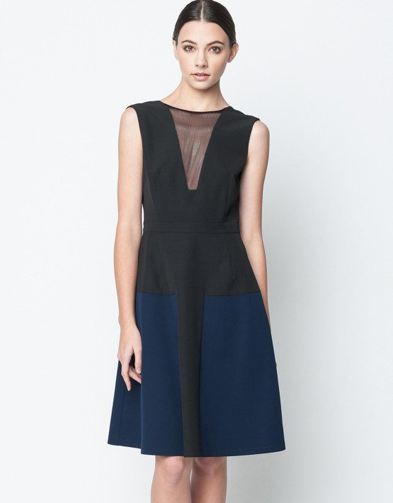 Black Navy Color Block V-Neck A-Line Dress SoHo Dress