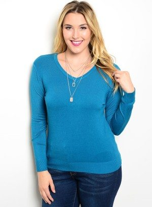 Teal Plus Size V-Neck Sweater