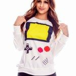 White Gameboy Graphic Top
