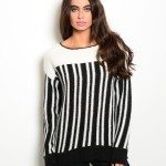 Black Ivory Striped Fuzzy Sweater