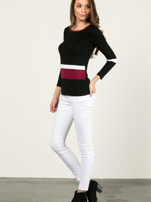 Tri-Color Long Sleeve Top
