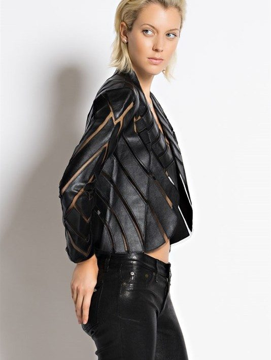 Black Long Sleeve Cropped Jacket by Hot & Delicious