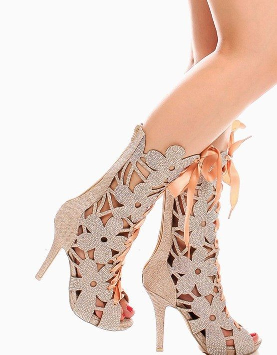 Gold Open Toe Floral Rhinestone High Heel Boots