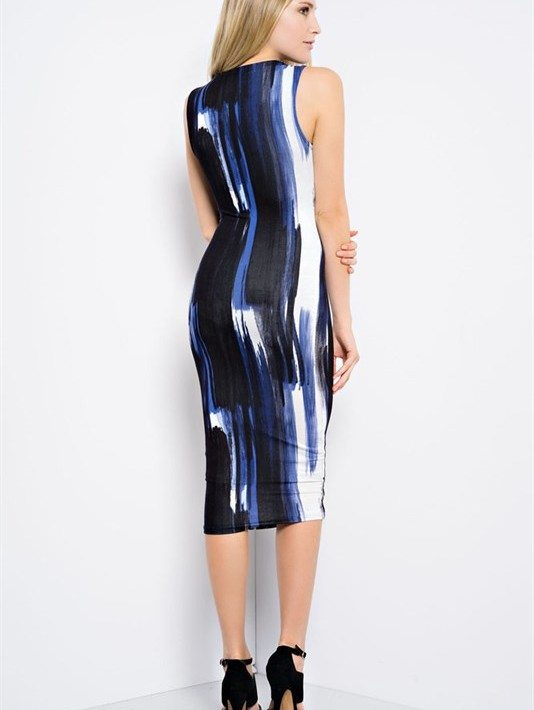 Royal Blue Brushstroke Print Midi Dress by Hot & Delicious