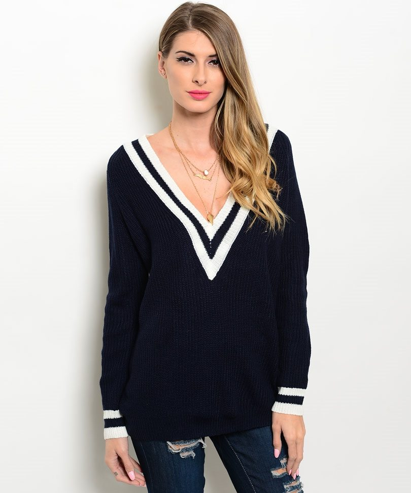Navy Oversized V Neck Sweater - ModishOnline.com