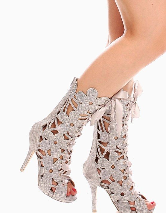 Silver Open Toe Floral Rhinestone High Heel Boots
