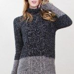 Cable Knit Turtleneck Tunic Sweater by Sugarlips