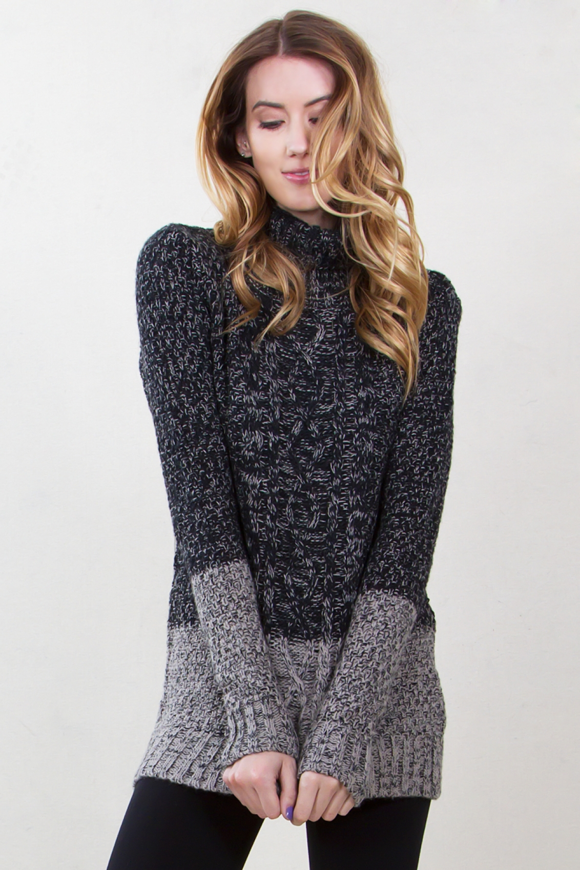 Cable Knit Turtleneck Tunic Sweater