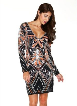 Black Fully Embellished Long Sleeve Dress