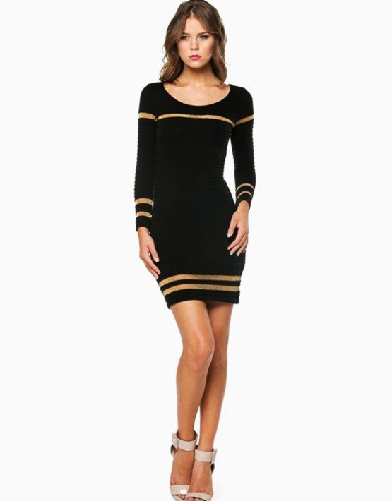 Black Ribbed Shimmer Striped Short Sweater Dress