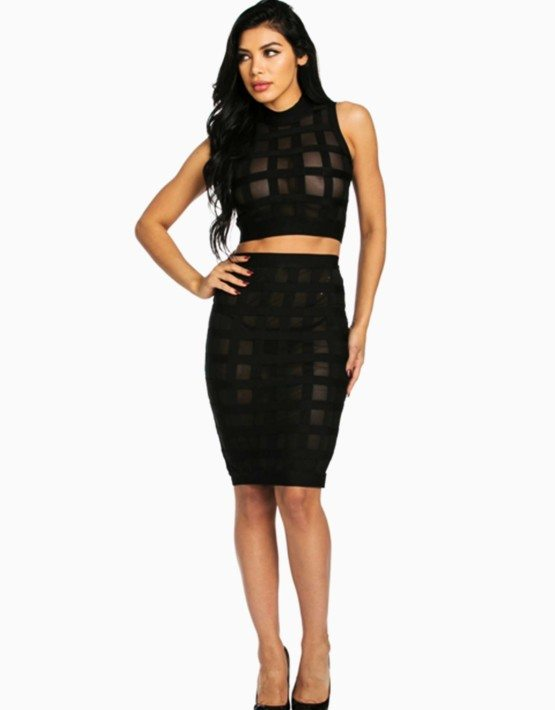 Black Block Mesh Two Piece Bandage Dress
