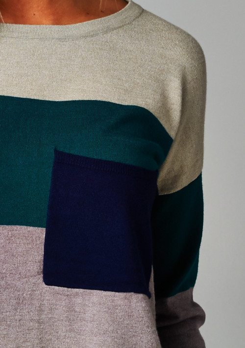 Colorblock Knit Loose Fit Sweater
