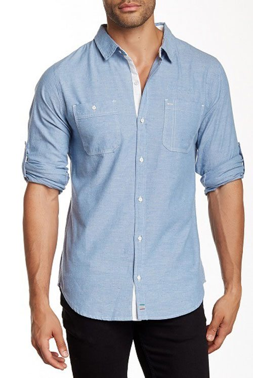 Light Denim Speckled Chambray Button Down Button Ups. This Light Denim  Speckled Chambray Button Down shirt features long sleeves ... 03a956270