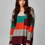 Colorblock Striped Pullover Sweater