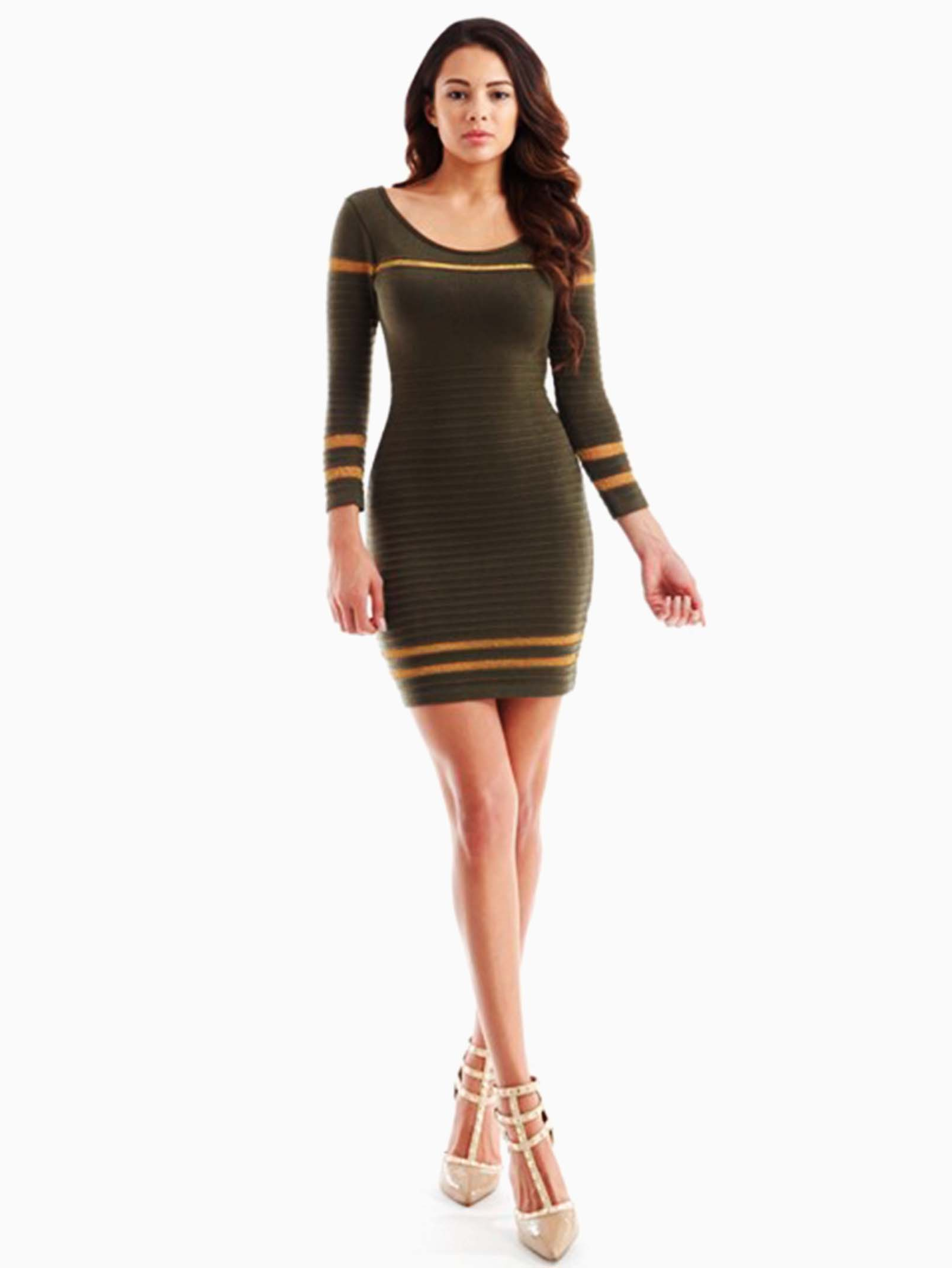 53cebe8fd7c Hera Collection Olive Ribbed Shimmer Striped Short Sweater Dress ...
