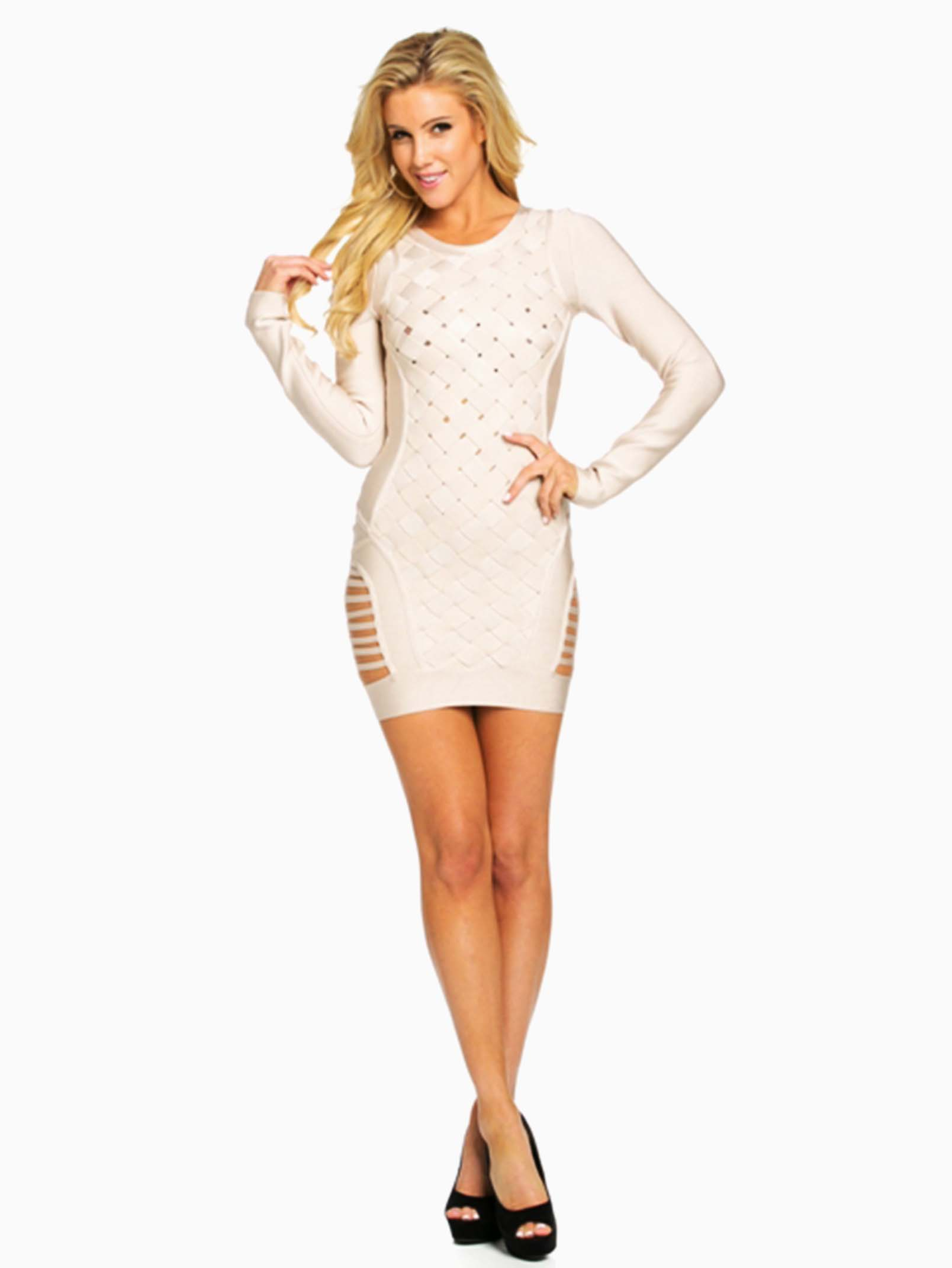 Hera Collection Pink Long Sleeve Bandage Mini Dress - ModishOnline.com