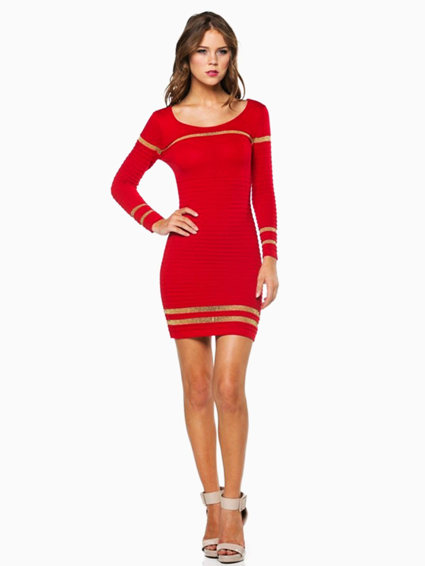 69f0b5bd422 Hera Collection Red Ribbed Shimmer Striped Short Sweater Dress ...