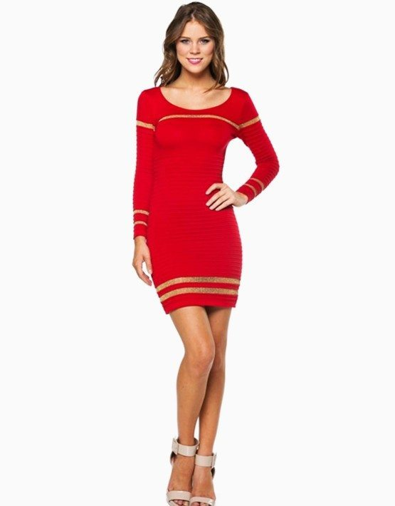 Red Ribbed Shimmer Striped Short Sweater Dress